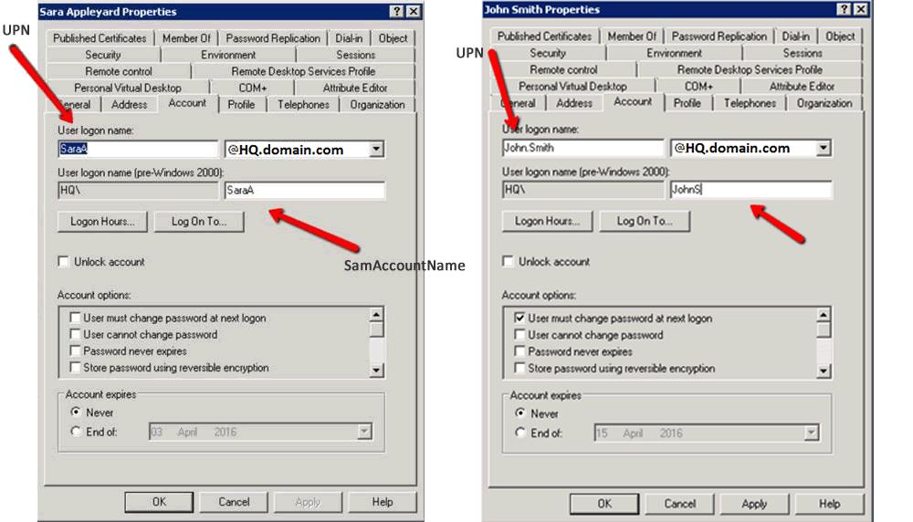 AD properties SMTP UPN