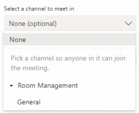 A concept that is unique to booking meetings in Teams is the ability to select a channel in which to meet.