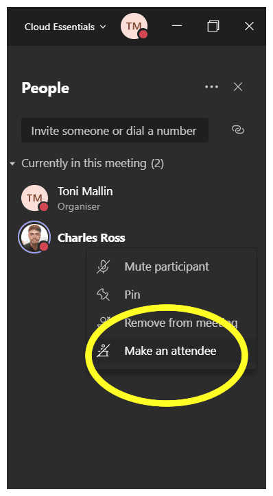 Make attendee in Microsoft Teams Mute Button