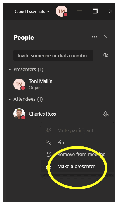Make presenter in Microsoft Teams Mute Button