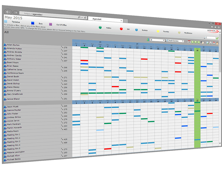 group calendaring overview panel